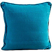 Homescapes Cotton Rajput Ribbed Teal Cushion, 45 x 45 cm