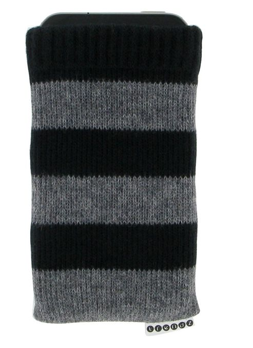 Trendz Protective Striped Sock for Universal Smartphone Devices - Black/Grey