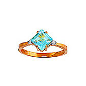 QP Jewellers Diamond & Blue Topaz Princess Ring in 14K Rose Gold