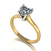 18ct Gold 6.5mm Single Stone Heart Moissanite Ring