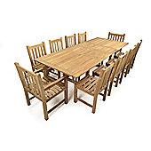 Jubilee 10 Seater Double Extending Teak Set - Outdoor/Garden table and Chair set.