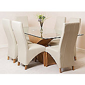 Valencia Glass & Oak 200 cm Dining Table with 6 Ivory Lola Leather Chairs