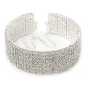 9-Row Clear Swarovski Crystal Choker Necklace In Rhodium Plating - 30cm Length/ 16cm Extension