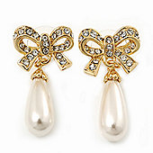 Classic Diamante Imitation Pearl 'Bow' Drop Earrings In Gold Plating - 4cm Length