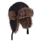 Kid's Furry Trapper Aviator Earflaps Warm Skiing Snowboarding Winter Hat - Black