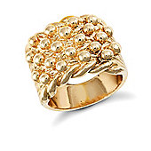 Jewelco London 9ct Solid gold premium weight 5 row Keeper Ring with roped edges