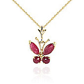 QP Jewellers 16in 0.68mm Butterfly Necklace with 0.60ct Ruby Pendant in 14K Gold