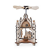 Festive Laser Cut Wooden Whirligig Windmill Ornament with Carol Singers
