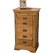 French Chateau Rustic Solid Oak 5 Drawer Tallboy