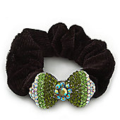 Rhodium Plated Swarovski Crystal 'Bow' Pony Tail Black Hair Scrunchie - Grass Green/ Olive/ AB