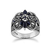Gemondo Sterling Silver 0.90ct Blue Sapphire & 0.25ct Marcasite Floral Cocktail Ring