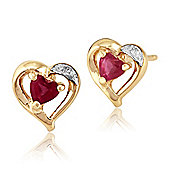 Gemondo 9ct Yellow Gold 0.25ct Natural Ruby & Diamond Heart Stud Earrings