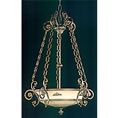 Martinez Y Orts 4 Light Pendant - Golden French with Spotted Black Patine