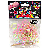 DIY Loom Bands - 100 Count Rainbow Glow in the Dark Colour Refill bands with Clips and Loom tool