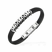 Urban Male Black Rubber Wristband Bracelet with Stainless Steel Design