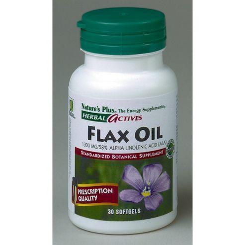 Nature's Plus Herbal Actives Flax Oil 30 Softgels 1300mg