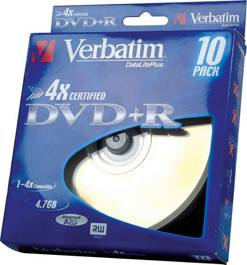Verbatim DVD+R Blank Media Disc 4.7GB 4X 10 Pack Cake