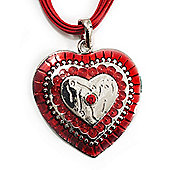 Red Enamel Crystal Heart Cotton Cord Pendant Necklace(Silver Tone) - 40cm Lengh