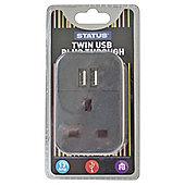 2 x USB Port Power Adaptor - Black - Status - Plug Through - 2100mA - 1 pk - in a Clam Shell
