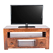 Homescapes Dakota TV Unit with 2 Drawers Dark Shade