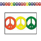 Tye Dye Fun Peace Sign Garland - 12ft (each)