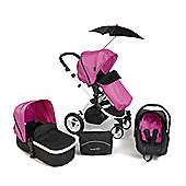 Your Baby Alaska Fuchsia Pink 3 In 1 Pram/Travel System/Car Seat/Carrycot/Pushchair/Stroller