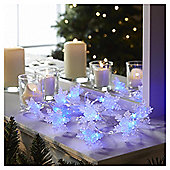 15 Battery Operated Glitter Snowflake Christmas Lights, Blue