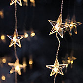 Indoor Star Curtain Light with 40 Warm White LEDs on Clear Cable