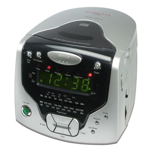 buy roberts radios 3 band dual alarm stereo clock radio with cd player cd cube from our clock. Black Bedroom Furniture Sets. Home Design Ideas