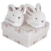 Doudou et Compagnie Rabbit Booties Gift Box 0-3 Months, White & Brown
