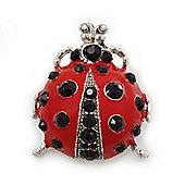 Funky Red Enamel Black Crystal 'Ladybug' Brooch In Silver Plating - 40mm Length