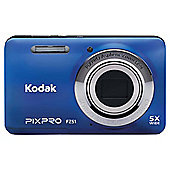 "Kodak Pix Pro FZ51 Digital Camera, Blue, 16MP, 5x Optical Zoom, 2.7"" LCD Screen"