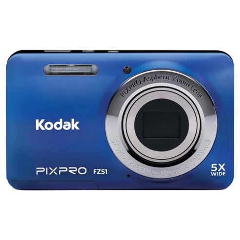Kodak Pix Pro FZ51 Digital Camera, Blue, 16MP, 5x Optical Zoom, 2.7