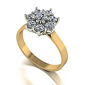 9ct Gold 8 Stone Round Brilliant Moissanite Cluster Ring