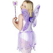 Child Purple Butterfly Wings & Wand