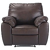 Alberta Leather Recliner Armchair Chocolate