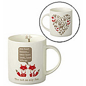 Parlane Porcelain Mug with 'Sly Fox' Quote - 9.5 x 8.5 x 12cm