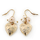 Gold Plated Heart Locket, Freshwater Pearl, Flower Drop Earrings - 35mm Length