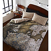 Catherine Lansfield Map Single Bed Photographic Quilt Set Multi