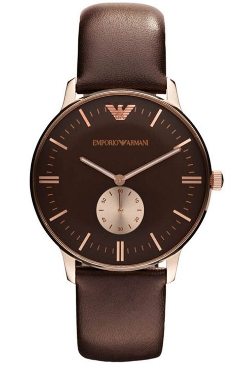 Emporio Armani Brown Leather Strap Watch AR0383