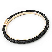 Black Leather Bangle In Gold Plated Metal - up to 18cm Length