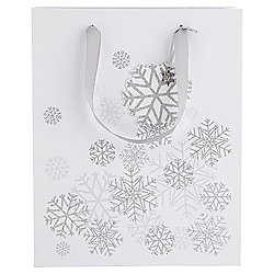 Silver Snowflake Christmas Gift Bag, Large
