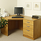 Enduro Home Office Corner Desk with Inbuilt Pedestal - Warm Oak
