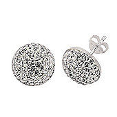 Rhodium-Coated Sterling Silver White Crystal Stud Earrings