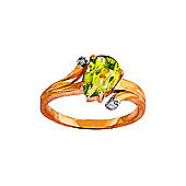 QP Jewellers Diamond & Peridot Flank Ring in 14K Rose Gold