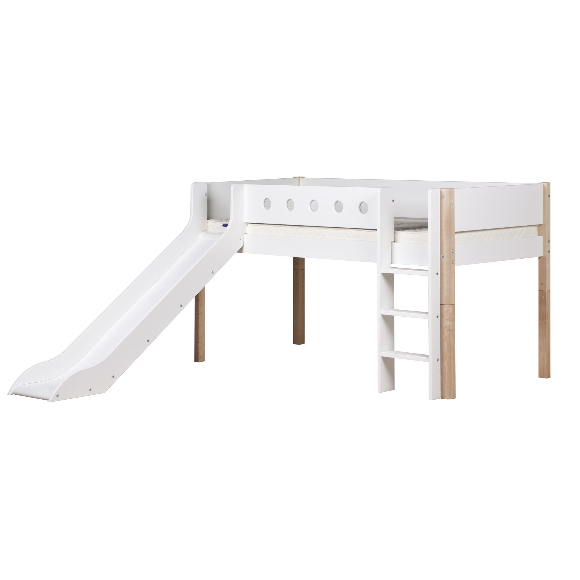 Flexa White Midsleeper with Slide - Natural Lacquer - White/birch at Tesco Direct
