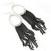 Rhodium Plated Hoop Earrings With Black Chains - 12cm Length