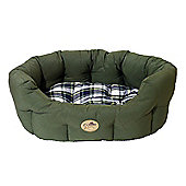 Rosewood Pet Products 40 Winks Country Oval Sleeper Dog Bed in Green/Check - X-Large (81cm)