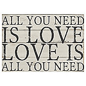 All You Need is Love Canvas 50 x 37cm - Wood Effect