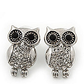 Funky Crystal 'Owl' Stud Earrings In Silver Plating - 22mm Length
